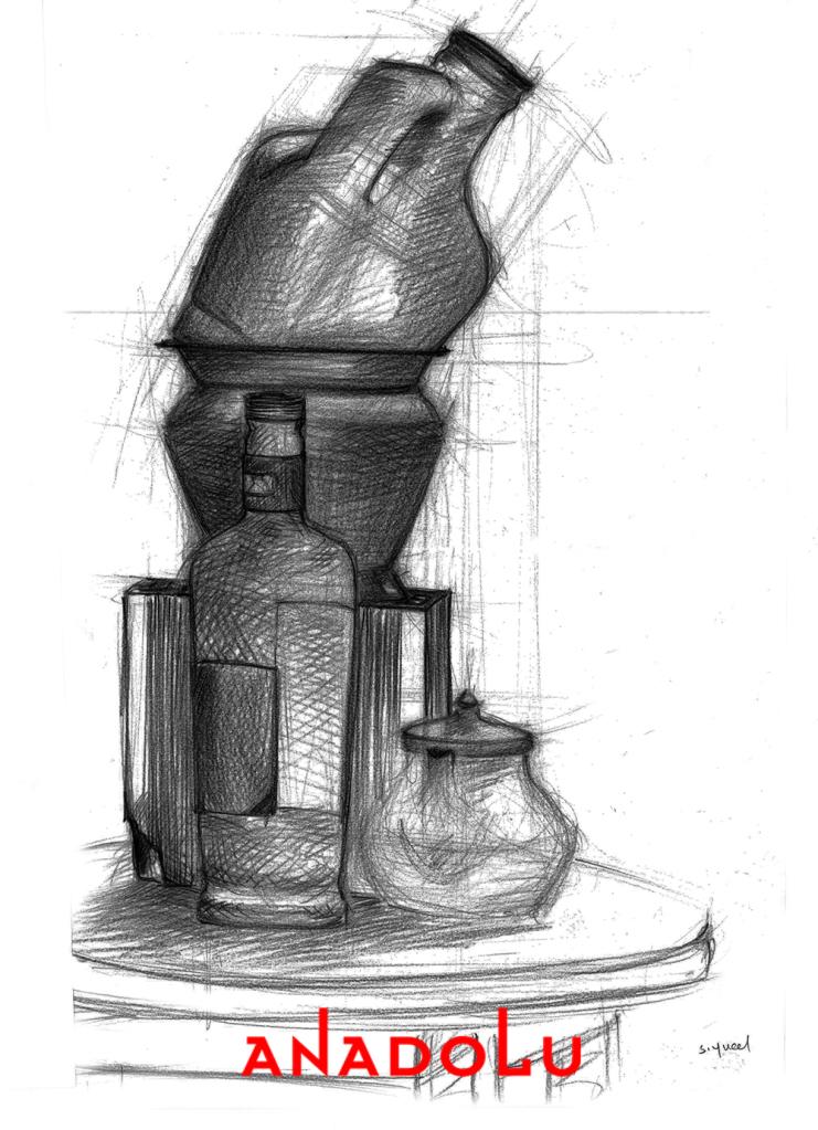Karakalem Natürmort Çizimi Çukurovada