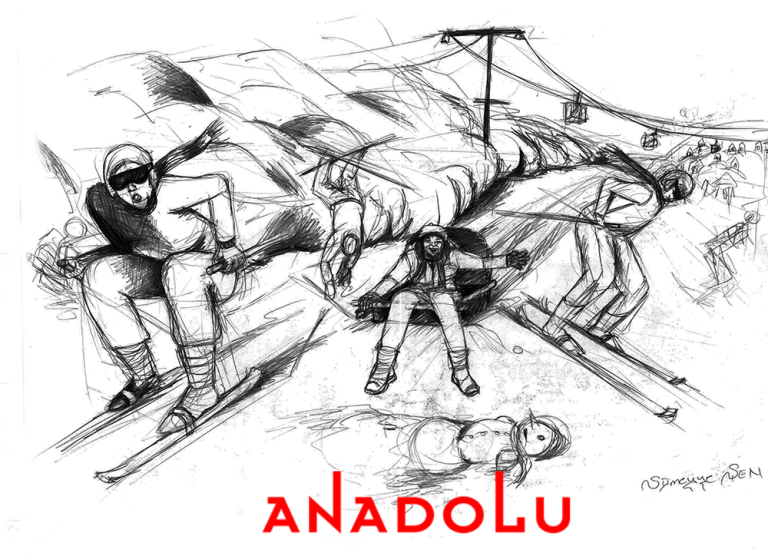 Karakalem İmgesel Kayak Yapan İnsanlar Çizimi Çukurovada