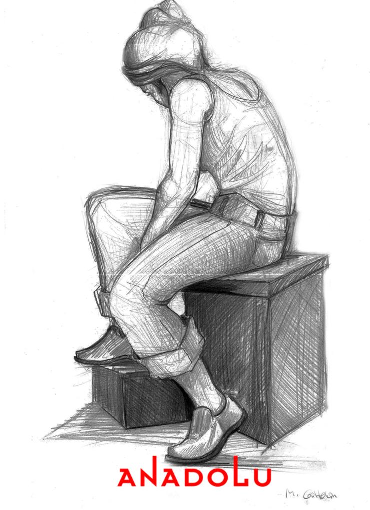 Karakalem Kadın Model Çizimi Çukurovada