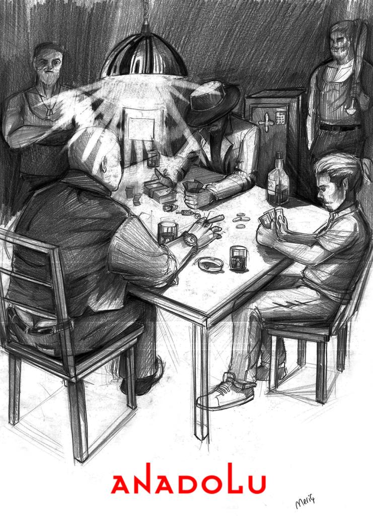 İmgesel karakalem kahvede oyun oynayanlar Çukurovada