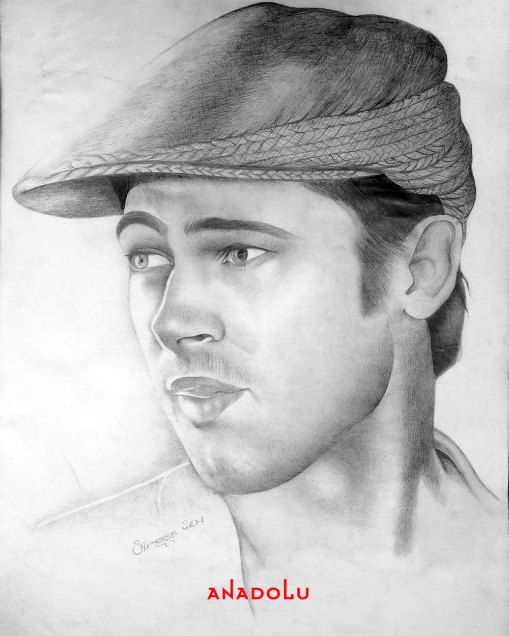 Brad Pitt Karakalem Çizimleri Diyarbakır