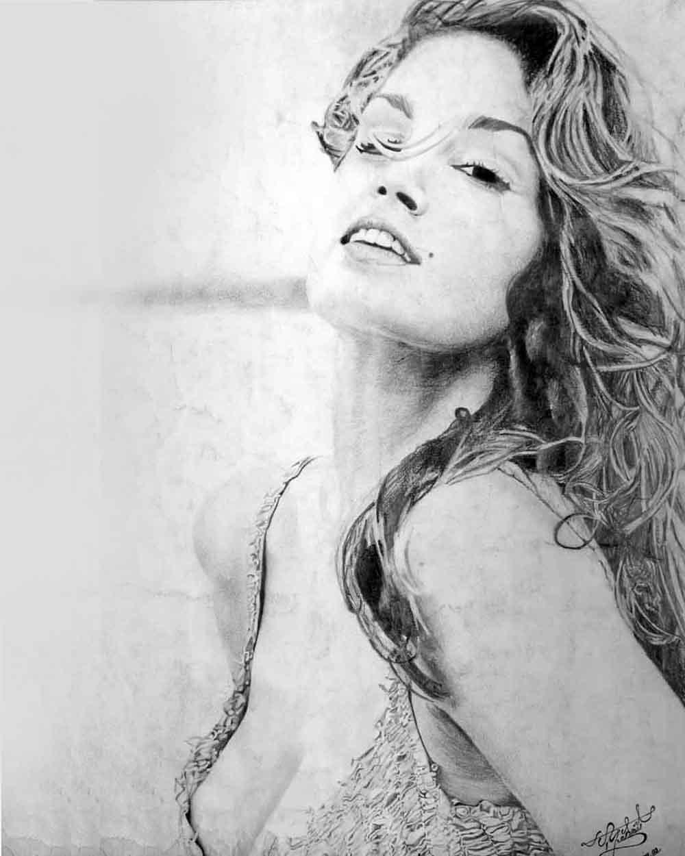 Cindy Crawford Kara Kalem Çizimi Diyarbakır