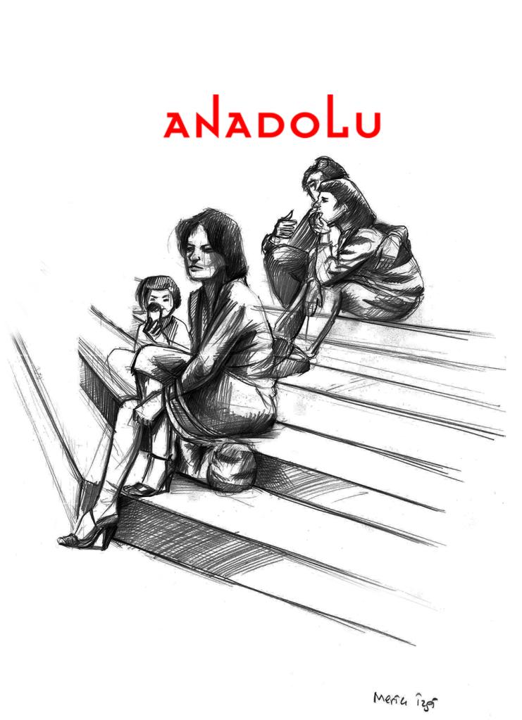 Karakalem Merdivende Oturan Anne Ve Çocuk Çizimi Diyarbakır