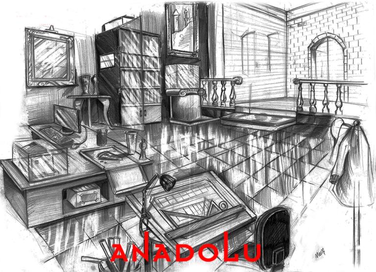 İmgesel Karakalem Bir Çalışma Odası Çizimi Diyarbakır