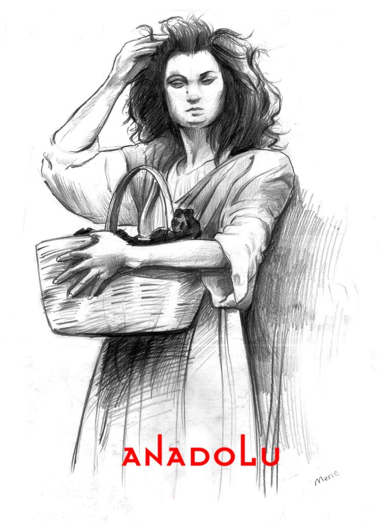 Karakalem Ayakta Kadın Model Çizimi İzmir