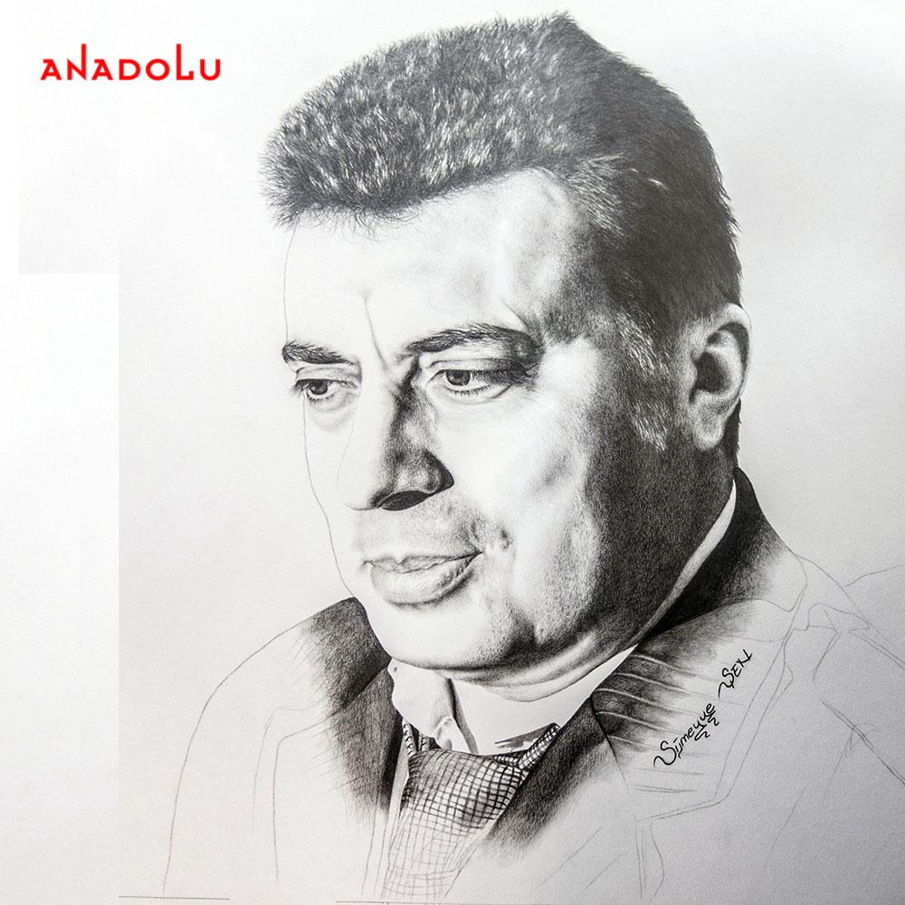 Yaşar Karakuzu'nun Kara Kalem Portresi Diyarbakır